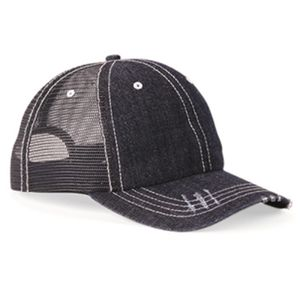 Herringbone Unstructured Contrast Stitch Trucker Cap Thumbnail